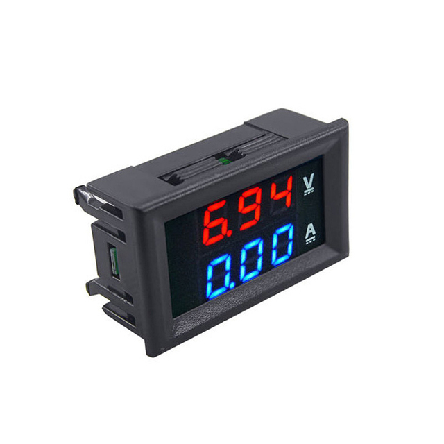 "DC 100V 10A Voltmeter Ammeter Red LED Amp Dual Digital Volt Meter Gauge Analog Volt Ammeter 0.28"" Blue Red Dual Display"