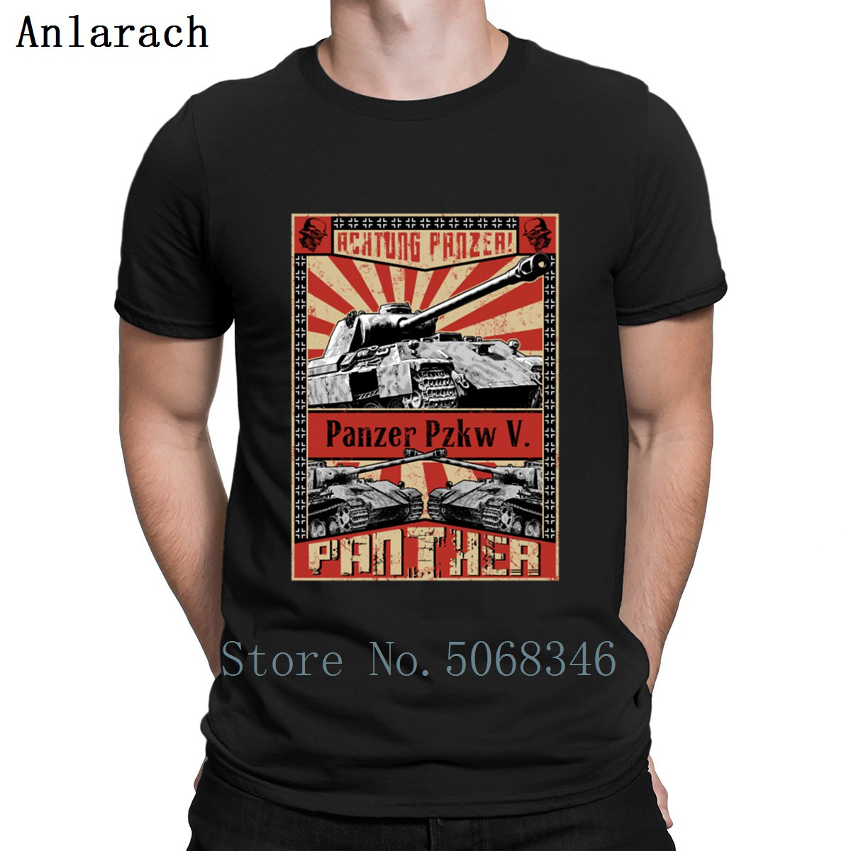Tanks Panther Achtung Panzer T Shirt Trend Summer Style Fitness New Style Custom Short Sleeve Gents S-XXXL Shirt