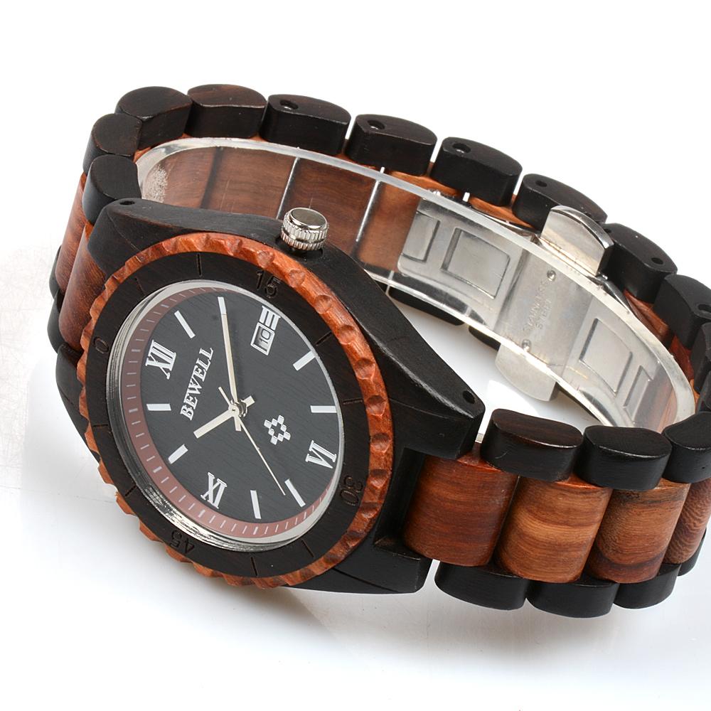 bewell 128ag уникальный дизайн дерево часы для мужчин аналоговые кварцевые легкий ручной работы дерево наручные часы с авто дата функция