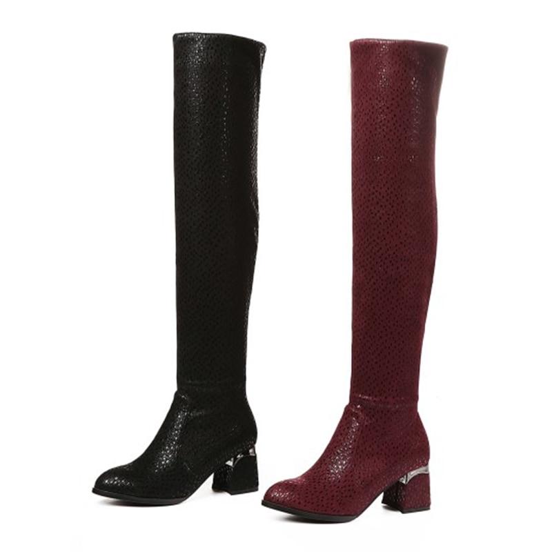 Slip Dedo Mujer Redondo on Botas Bolso red Black Muslo Enmayer De Size34 Del Zyl1647 Pie Tejido Encima Alta Rodilla Elástico Zapatos Por La 40 qvfnwEZ
