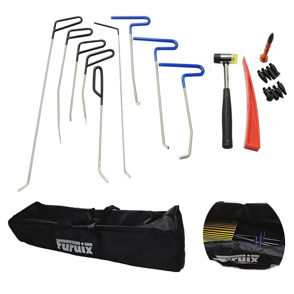 PDR Rods Pdr Tool Kit Paintless Dent Repair Tools Hail Damage Repair Dent Removal Kit Dent Puller With Hammer and Tap Down hail damage repair kit removal of hail dents and door ding professional pdr rod paintless dent remover tools kit b7911c123456