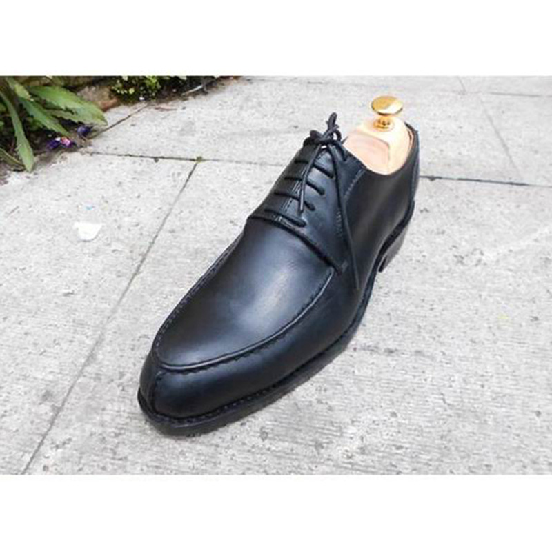 SKP37 Goodyear Welt Handmade 100% Genuine Calf Leather Men's Derby Shoes Color Black Excellent Handcraft