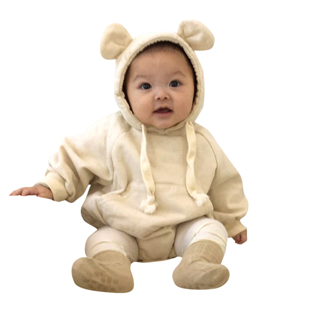 Baby Costume 2018 Newborn Baby Girl Boy Romper Winter Hooded Ear Cloak Rompers Clothes Body Infantil First Birthday Baptism 100% Guarantee