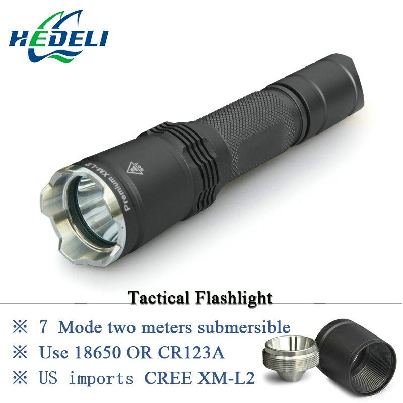 7 Mode Tactique lampe de poche CREE LED linternas XM-L2 Torche IPX-8 étanche CR123A OU 18650 rechargeable batterie Feux de Chasse