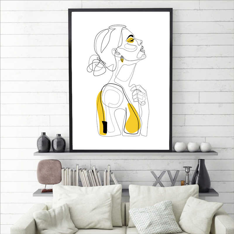 Abstract Line Prints Drawn Female Portrait Poster Yellow Fashion Sketch Canvas Painting Minimalist Woman Art Decor Wall Picture