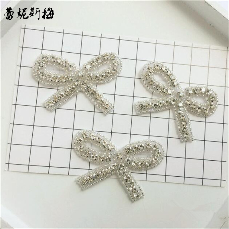 6 Crystal Pearl Photo Picture Frame Diamond Bowknot: 10Pc Europe Charming Crystal Bow Tie Rhinestone Applique