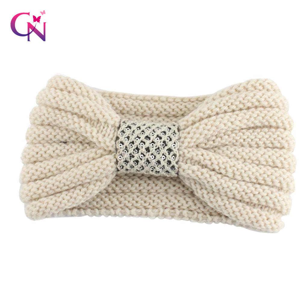8acf646bff3 Fashion Handmade Knitted Headband With Center Sequins Autumn Winter Warm Ear  Elastic Hairband For Women Hair