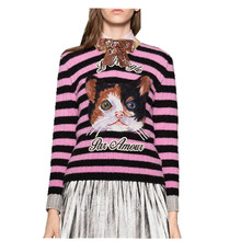 New 2016 Runway Autumn Women Jumper Fashion Pink Striped Kitty Embroidery Kintwear O-Neck Knitted Pullovers Long Sleeve Sweater