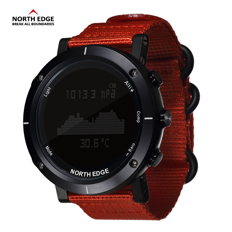 NORTH EDGE Men Sports Watch Altimeter Barometer Thermometer Compass Heart Rate Monitor Pedometer Digital Running Climbing