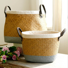 Wicker Woven Storage Basket With Handles Baskets Seagrass Straw Rattan Flower Plant cestos decorativos