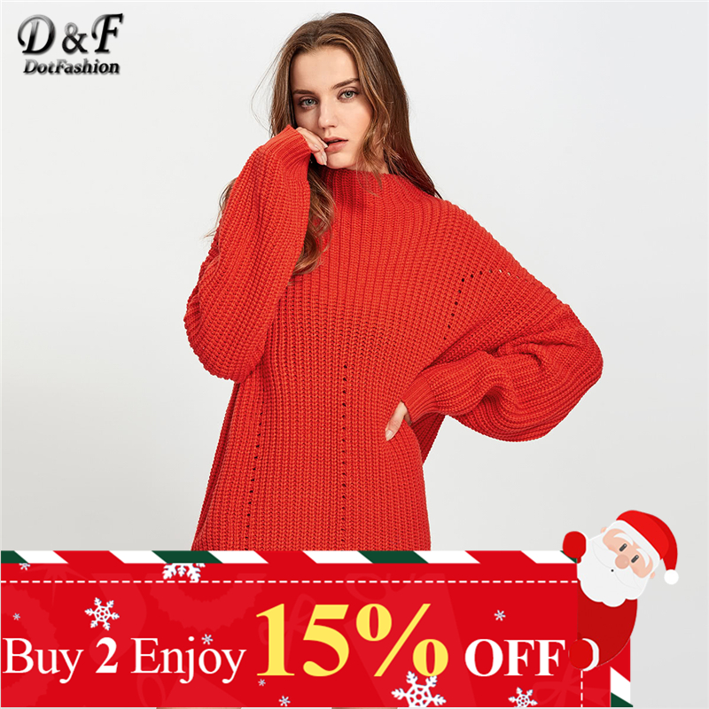 Dotfashion Red Exaggerate Long Sleeve Eyelet Detail Jumper Ladies Autumn Winter Casual Stand Collar Cut Out Sweaters Pullover