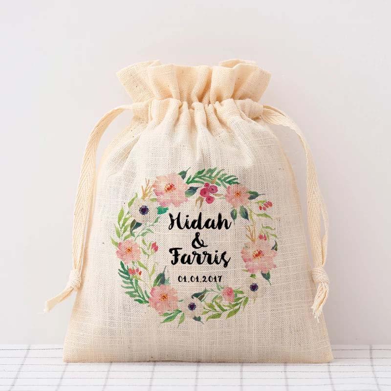 50PCS Custom Bride bridegroom name date Drawstring Bag Personalized logo candy Bag Gift Packaging Wedding Gifts