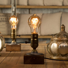 Dimmer Vintage Industrial Decor Table Light Edison Bulb Wood Desk Lamp Retro Home Decor Lighting Antique Nightlight Art Display(China)