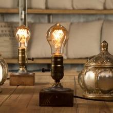 Dimmer Vintage Industrial Decor Table Light Edison Bulb Wood Desk Lamp Retro Home Decor Lighting Antique Nightlight Art Display