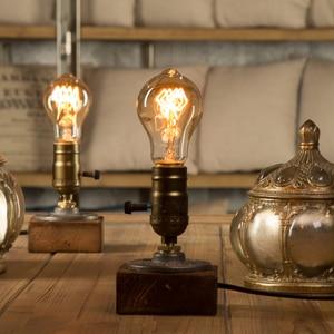 Image 1 - Dimmer Vintage Industrial Decor Table Light Edison Bulb Wood Desk Lamp Retro Home Decor Lighting Antique Nightlight Art Display