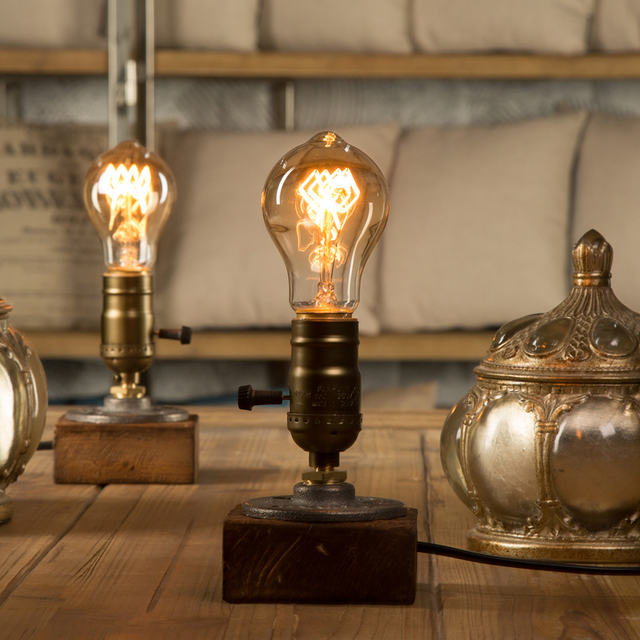 Great Dimmer Vintage Industrial Decor Table Light Edison Bulb Wood Desk Lamp  Retro Home Decor Lighting Antique