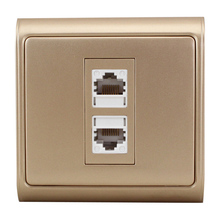 N86-901 + 606-2 Dual-Port line Card Network Panel Computer Network Cable Wall Outlet Plug Champagne computer network