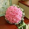 Comercio al por mayor rosa artificial PE Rose Wedding nupcial dama de honor ramo de flores Hechas A Mano Que Sostiene Las Flores de Seda Broche Ramo de Novia