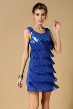 2017 Summer Stage Dresses Sexy Clubwear Sequin Fringed Sleeveless Solid color 1920s Flapper Party Dress Women Mini Fringe Dress