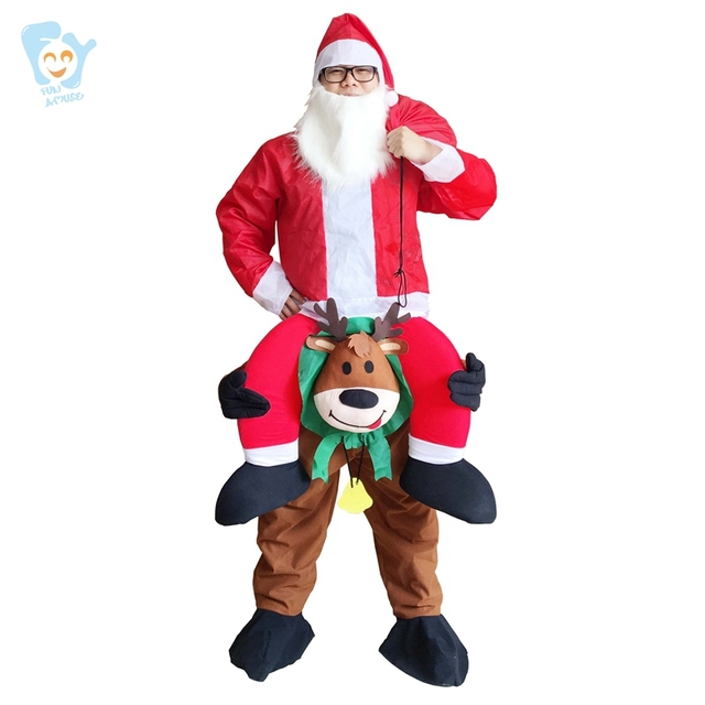 Unisex Santa Claus Costume Carry Me Ride On Costume Christmas Costumes Funny Fancy Dress Pants