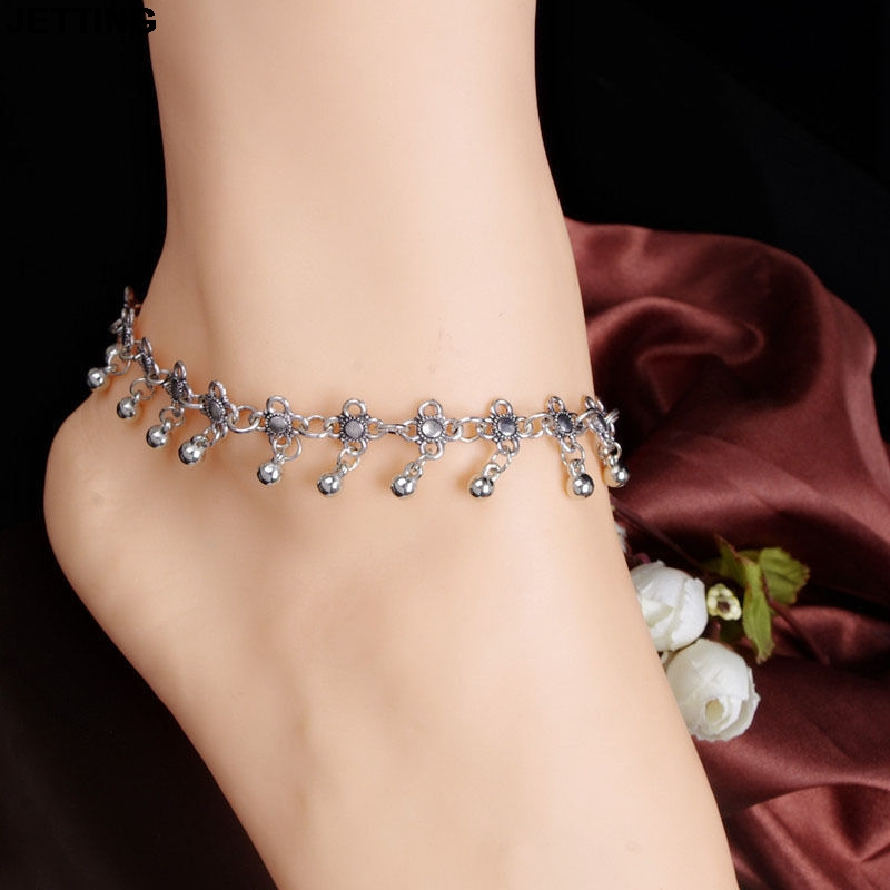 Silver Flowers With Bells Fashion Anklet Beach Ankle Bracelet Women Foot Chain