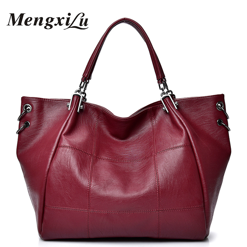 MENGXILU Women Bags Fashion Plaid Luxury Design Shoulder Bag Women Genuine Leather 2018 Ladies Handbags Casual Tote Bag Sac Main vintage women s tote bag with strap and plaid design