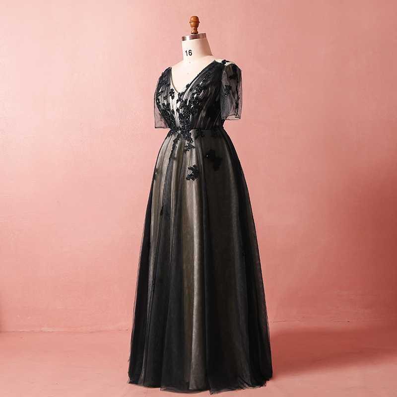 JANCEMBER Plus rozmiar czarna suknia wieczorowa sukienka pół rękawy, dekolt w serek, Lace Up powrót aplikacja koronki linia eleganckie suknie wieczorowe prawdziwe zdjęcia