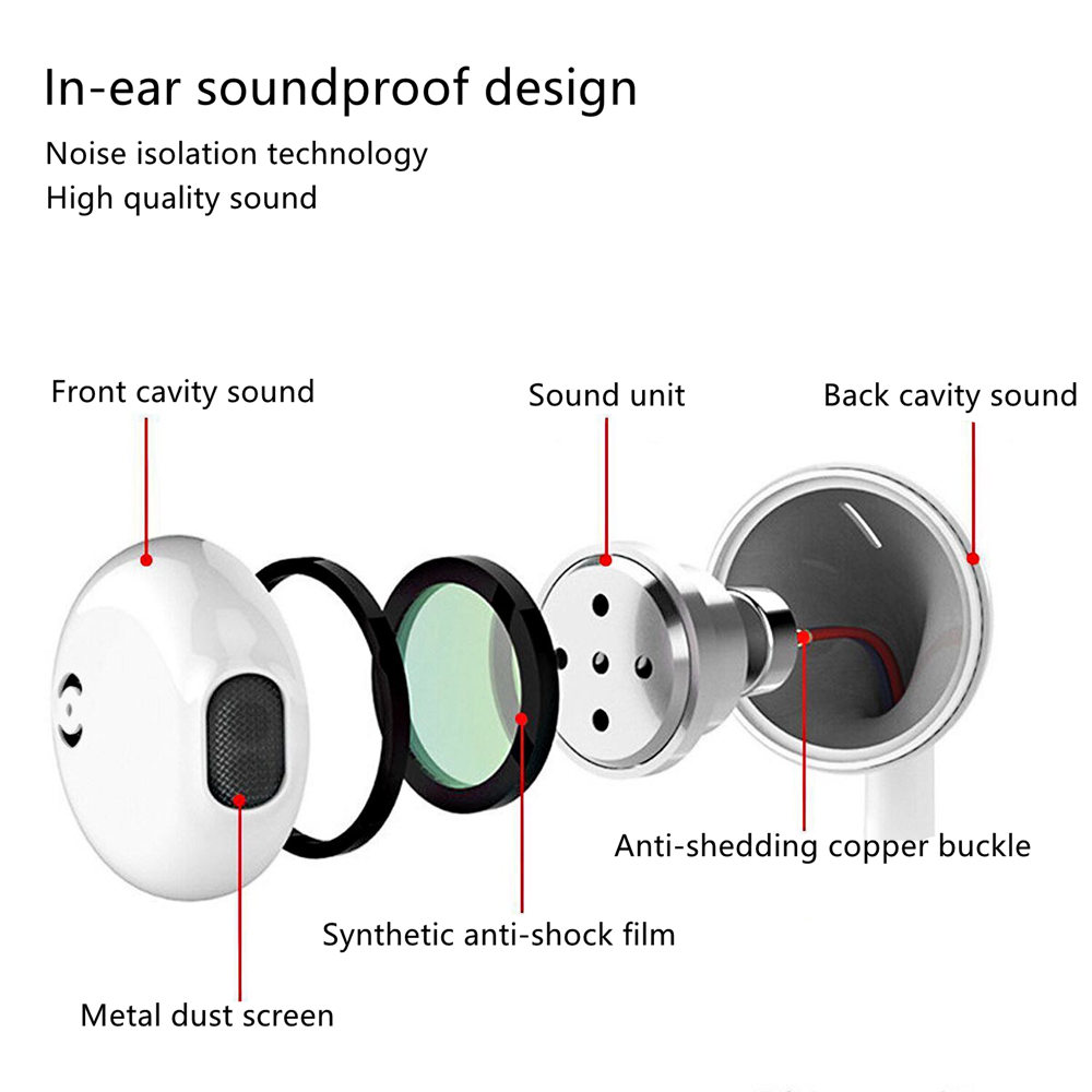 3.5MM Wired Headset Earbuds Headphone Noise Cancelling Stereo Heave Bass Earphones HIFI Microphone Mic Volume Control For iPhone 10