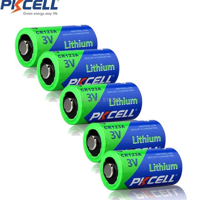 Bateria cr123a cr123 cr 123 cr17335 123a cr17345 (cr17335) 16340 3v baterias de lítio de 5 pces pkcell 2/3a para carmera