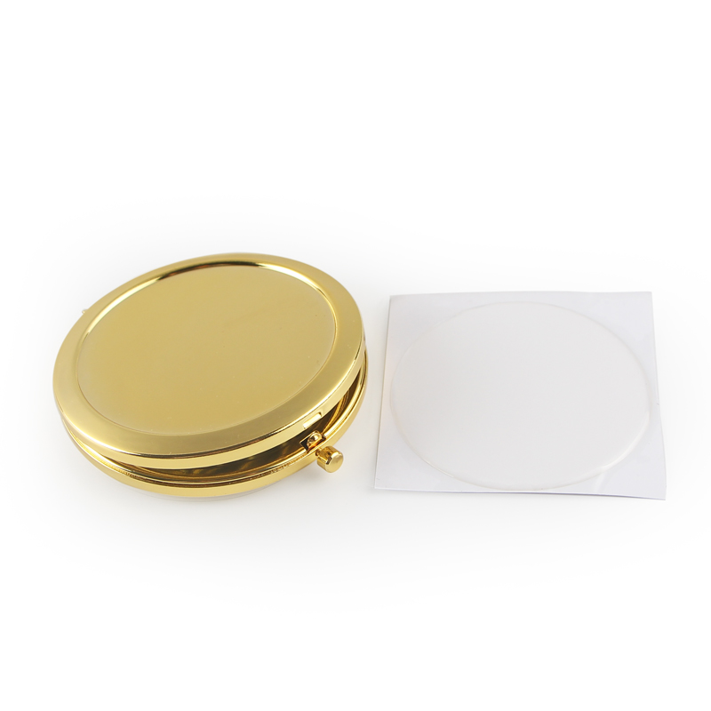 Gold Round Push Button Open DIY Kit Blank Compact Mirror with 58mm epoxy stickers