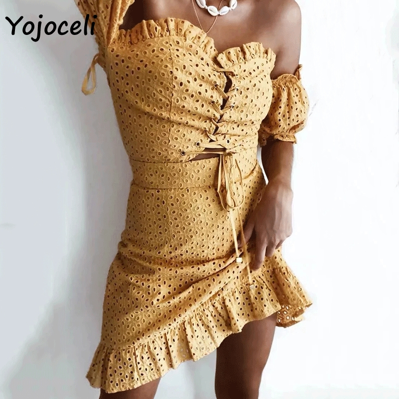Yojoceli sexy cotton embroidery lace dress women off shoulder lace up bodycon mini dress 2019 summer
