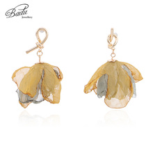 Badu Fashion Dangle Earrings for Women Yarn Flower Drop 2019 New Summer Wedding Jewelry Wholesale Gift Girls