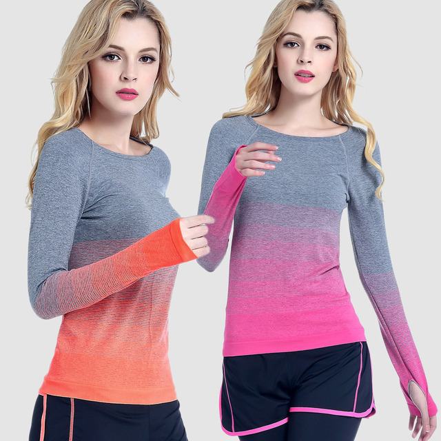 83913d4f RealLion Women Yoga Sport Tops Breathable Long Sleeve Yoga Running Fitness  Shirts Crop Sport Tops Quick-Dry Active Sportswear