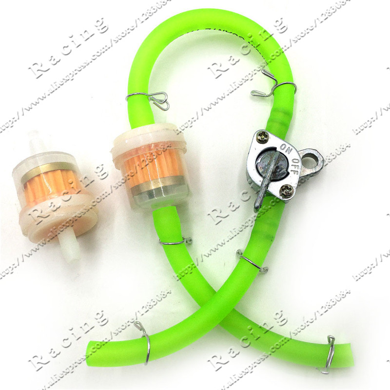 Blue Red Green Yellow fuel hose With Plastic Fuel filter Fuel taps for pocket bike dirt bike motorcycle pit bike scooter engine green world bike gwb