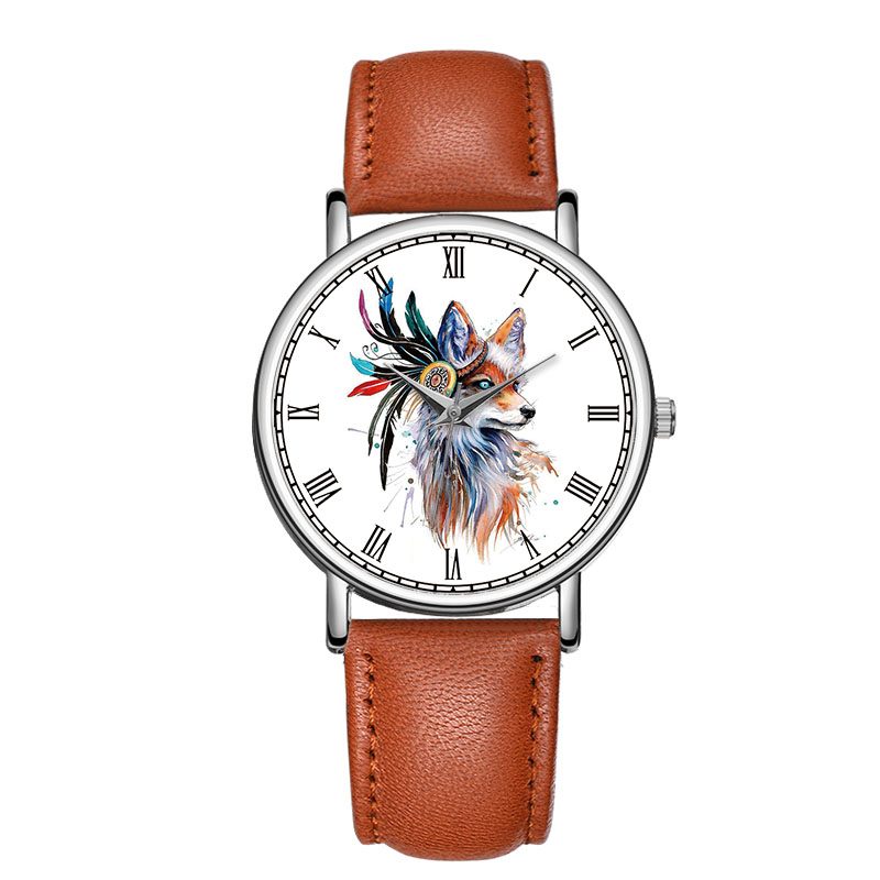 цена на C-9015 BAOSAILI Beautiful Wolf Watercolour Design Watch Roman Number Elegance Charm Women And Ladies Watches