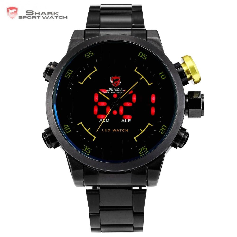 Gulper SHARK Sport Watch Black Yellow Relogio Dual Time 3D Analog Display Date Alarm Quartz Male Steel Wrist Army Watches /SH107