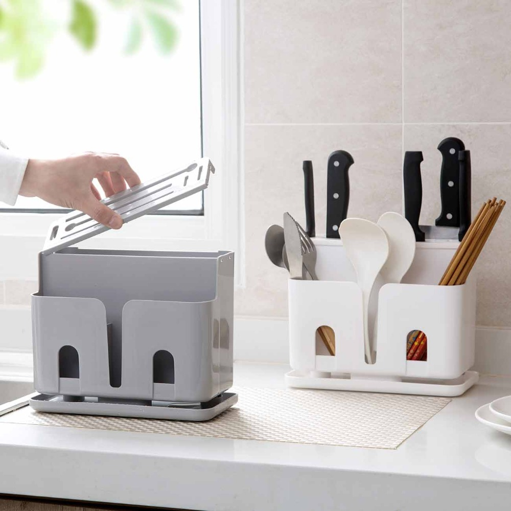 1pc Knife Spoon Rack Plastic Kitchen Chopsticks Cage Spoon Storage Box Fast Draining Water Cutlery Rack Dropshipping