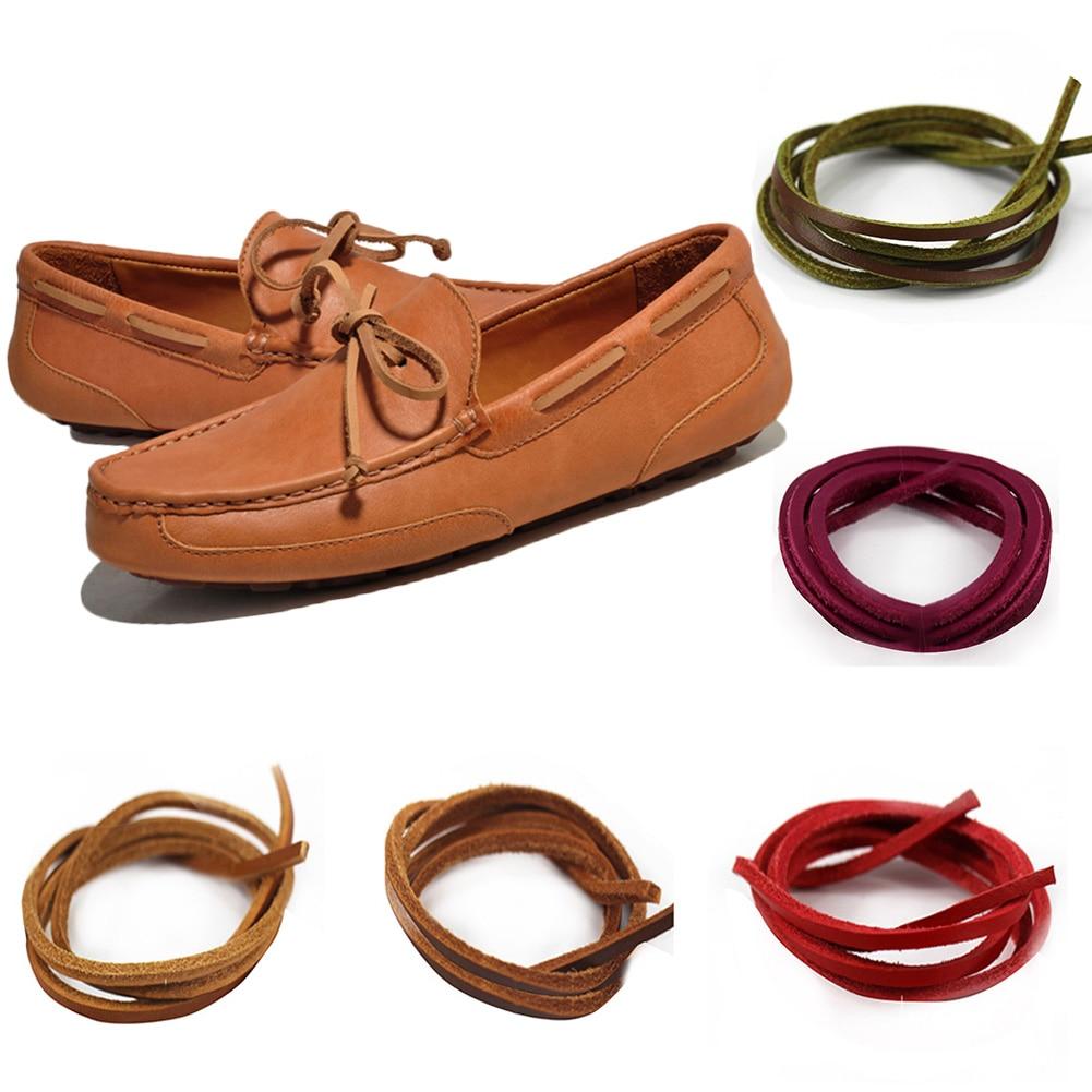1Pair Square Genuine Leather Shoelaces Unisex Vintage Boot Shoe Laces Men Loafers Martin Boots Shoelace Shoestring Length 80cm