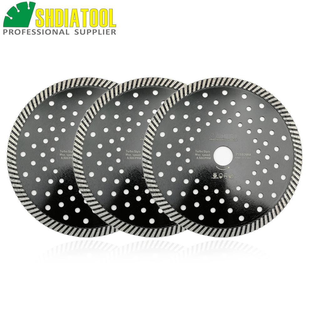 SHDIATOOL 3 Pcs 180MM Diamond Hot Pressed Diamond Turbo Blade Multi Holes For Aterial Ceramic Tile Granite Cutting