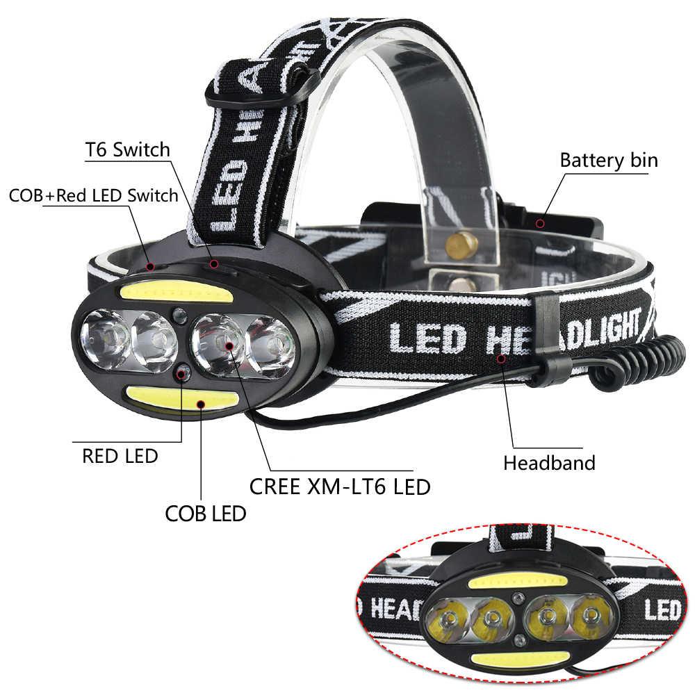 Pocketman phare puissant USB phare 4 * T6 + 2 * COB + 2 * rouge LED lampe frontale tête lampe de poche torche lanterne avec chargeur de piles