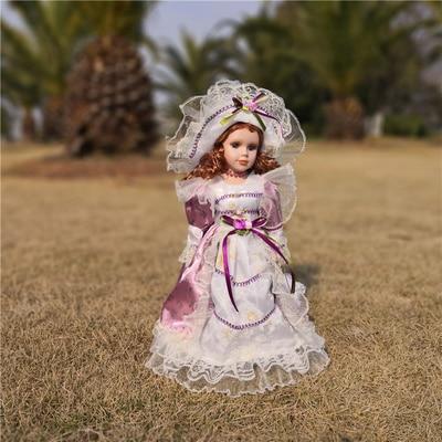 Hauteur 30 cm russie fait à la main en céramique poupée décoration de la maison pièces style européen maison vintage poupée anniversaire nœud fille cadeaux