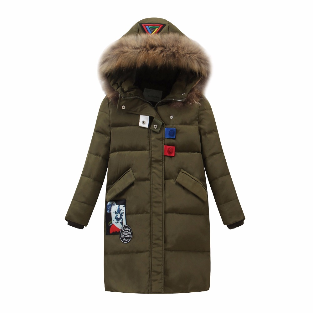 -30 Degree Russia Winter Snowsuit Girl Duck Down Jackets Children Long Sections Warm Hooded Coats Fur Collar Outerwear Jacket teenager girls coats and jackets with fur collar hooded kids jacket winter girl skiing duck down outerwear long children clothes
