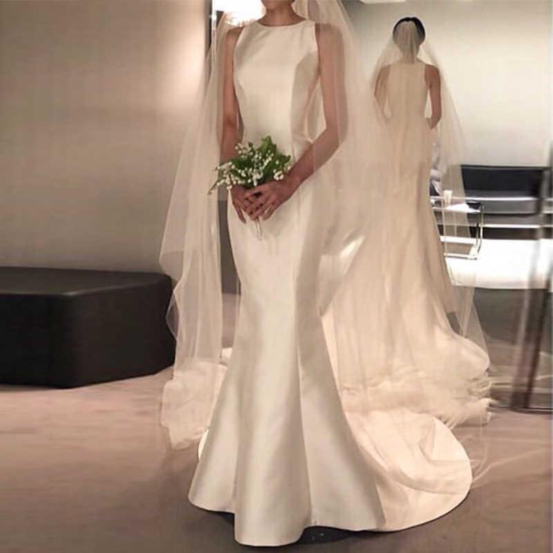 הגעה חדשה חתונת שמלות סאטן O-צוואר חתונה כלה שמלות לטאטא רכבת vestido דה noiva בת ים sheer חוף חתונת אורחים