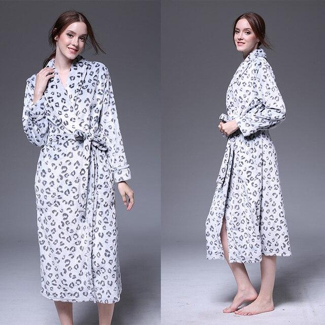 Новый зимний халат человек женский коралловые бархат утолщаются халат осень фланель капюшоном жаккард leopard пижамы обслуживание на дому S-XL