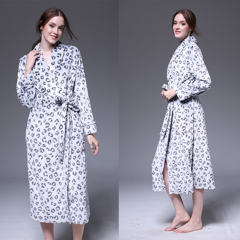 New winter robe man female coral velvet thicken bathrobe autumn flannel hood jacquard leopard pajamas home service S-XL