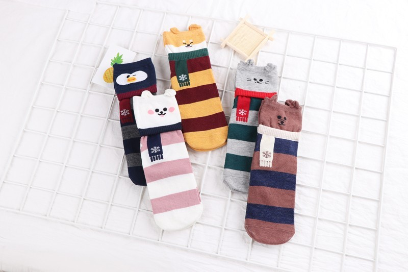 HTB1OpEEKgaTBuNjSszfq6xgfpXaN - New Design Animal Patterned Short Socks Women shiba inu Cartoon Ankle Socks Female Fashion Funny Socks Cotton Hosiery Christmas