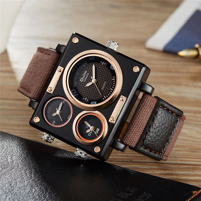 Oulm Best Selling Man Fashion Military Watch Top Brand Luxury Sport Watches Three Time Zone Men Wristwatch