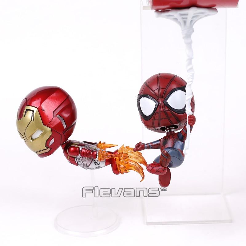 COSBABY MARVEL Spider Man Homecoming Iron Man & Spiderman PVC Figures Toys Bobble Head Dolls 2pcs/set