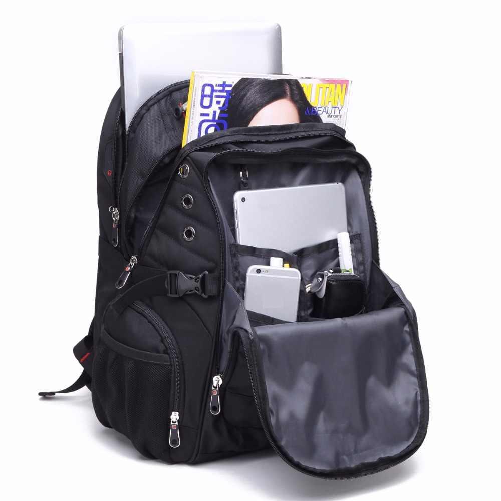 Оксфорд Швейцарский 17 дюймов рюкзак для ноутбука для мужчин зарядка через usb Водонепроницаемый дорожный женский рюкзак Мужская винтажная школьная сумка mochila