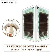 Nagaraku mix 7~ 15 мм, коричневый Наращивание ресниц ресницы Коричневые Ресницы. Искусственная норка накладные светящиеся ресницы коричневый Цвет maquiagem cilios